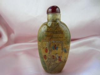Chinese Snuff Bottle Riverside Scene Qingming Folk Sunt Inner Painting Rrts By19 photo