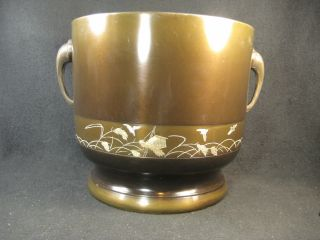 Vintage Japanese Bronze Hibachi Vase Silver Chokin Bird Rice Scenic photo