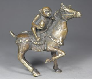 Chinese Handwork Horse Monkey Old Copper Statue photo