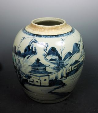 Chinese Antique Blue And White B & W Village Fishing Scene Porcelain Jar Vase photo
