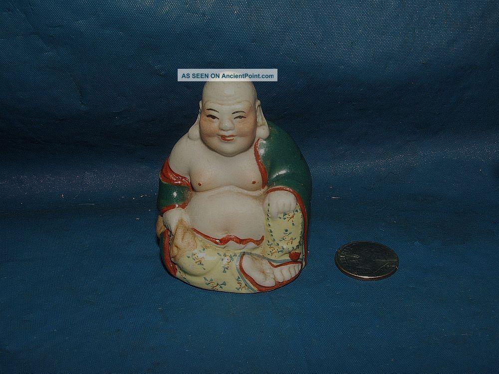 Miniature Antique Vintage Chinese Laughing Buddha Porcelain Statue Figurine Buddha photo