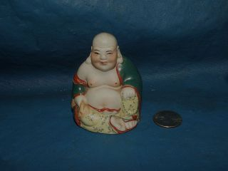Miniature Antique Vintage Chinese Laughing Buddha Porcelain Statue Figurine photo