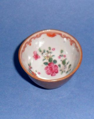Small Antique Hand Painted Oriental Floral Sake Bowl photo