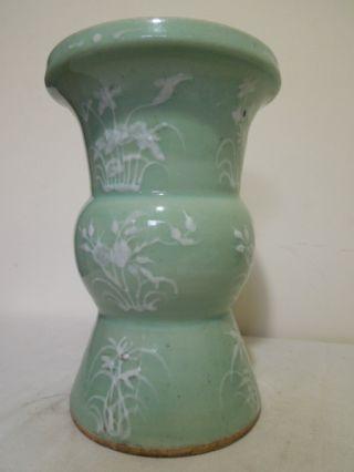 23.  A Chinese Celadon Gu Fu Vase Late Qing photo
