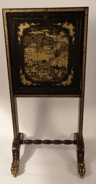 19th Century Chinese Antique Export Lacquer Fire Screen Furniture China Canton photo