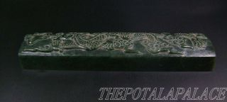 Old Chinese Spinach Nephrite Jade Paperweight 16/17thc.  Powerful Dragon Carved photo