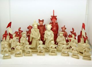 Antique Chinese Ox Bone Chess Set - Complete 32 Piece photo