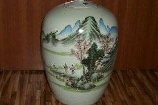 Antique 18 C Chinese Jar Vase Signed Landcape Paintings photo