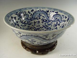 Huge Hand - Painted Blue White Porcelain Bowl 17