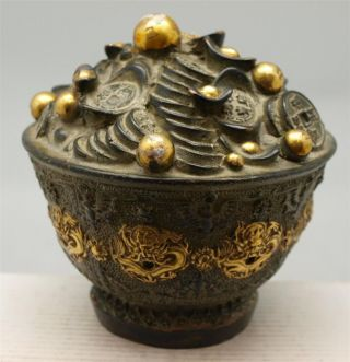 Chinese Bronze Feng Shui Sculpture - Wealth Pot Of Money Coins - Signed photo