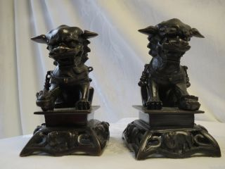 Chinese Carved Bronze Statue Foo Dog Lion And Elephant Figurine Statue Set Nr photo