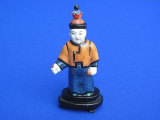 Fine Antique Chinese Porcelain Highly Detailed Figural Man Snuff Bottle photo