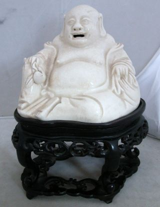 Antique Chinese Blanc De Chine Hotei Buddha On Custom Wood Stand (6.  8