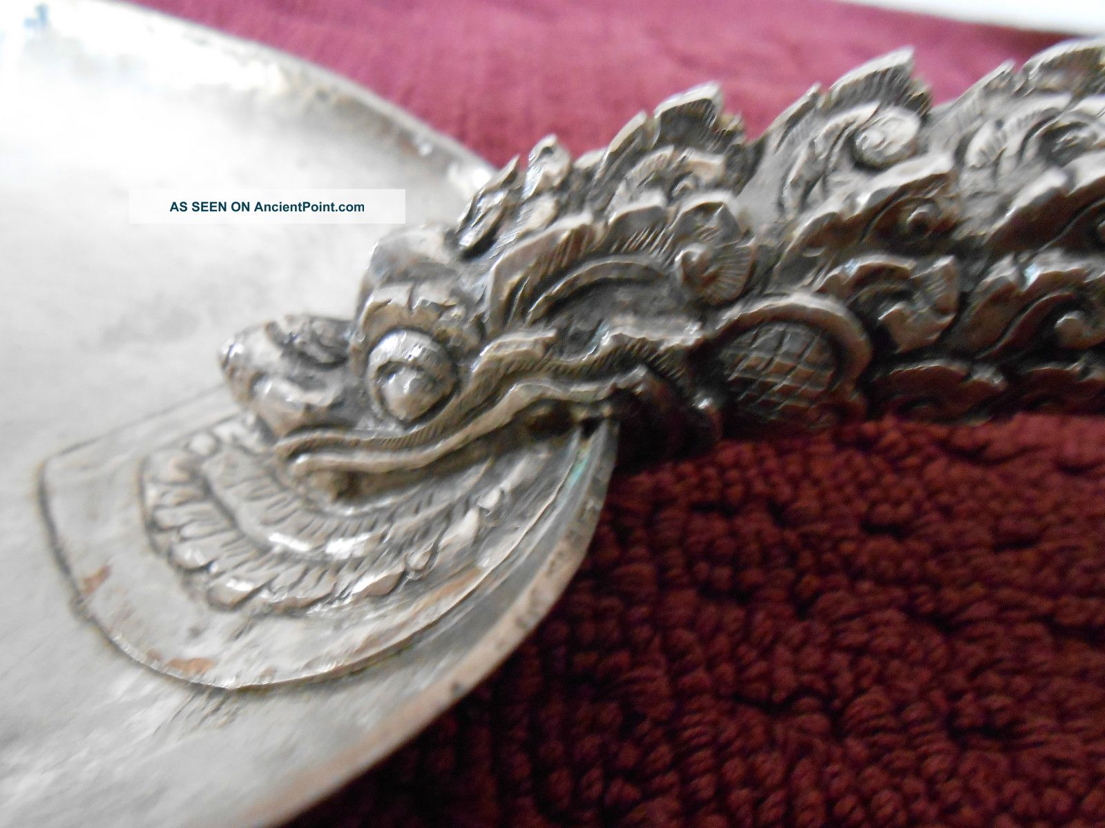 17th Imperial Chinese Sterling Silver Dragon Giant Spoon 270gr Rare Asia photo