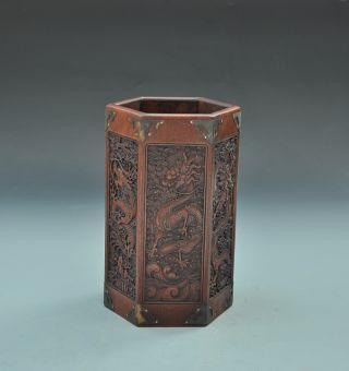 Rare 19th - Century Chinese Boxwood Pen Holder Inlaid Shell photo