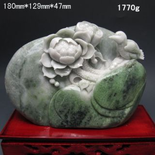 100% Natural Dushan Jade Hand - Carved Statues - - - Birds&lotus Nr/pc1988 photo