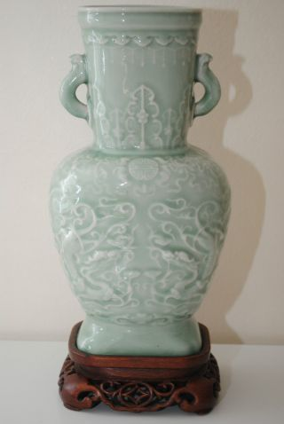 Early 20thc Chinese Antique Porcelain Celadon Glazed Vase Detailed Carved photo