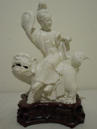 35.  A Chinese White Glazed Figure Of A Seated Buddha On A Chiling 19th C photo