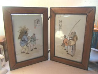 Rare 2 Chinese Fold Framed Porcelain Plaques Antique photo