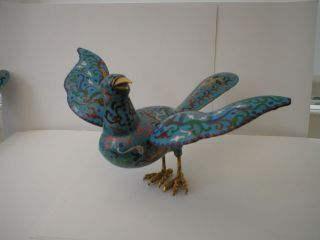 Vintage Japanese Cloisonne Bird With Detachable Wings photo