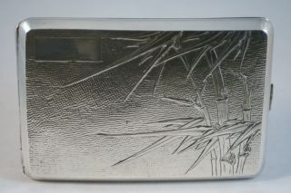 Antique Chinese Export Sterling Silver Cigarette Case,  Bamboo Motif,  Nanking photo