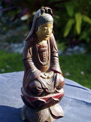 Antique Korean Kwan Yen Temple Statue photo