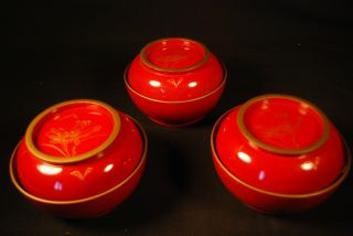 100+ Year Old Japanese Antique Lacquer Hand Painted Mackie Tea Rice Bowls (3) photo