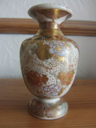 Fine Quality Antique 19th C Japanese Meiji Miniature Satsuma Pottery Vase photo