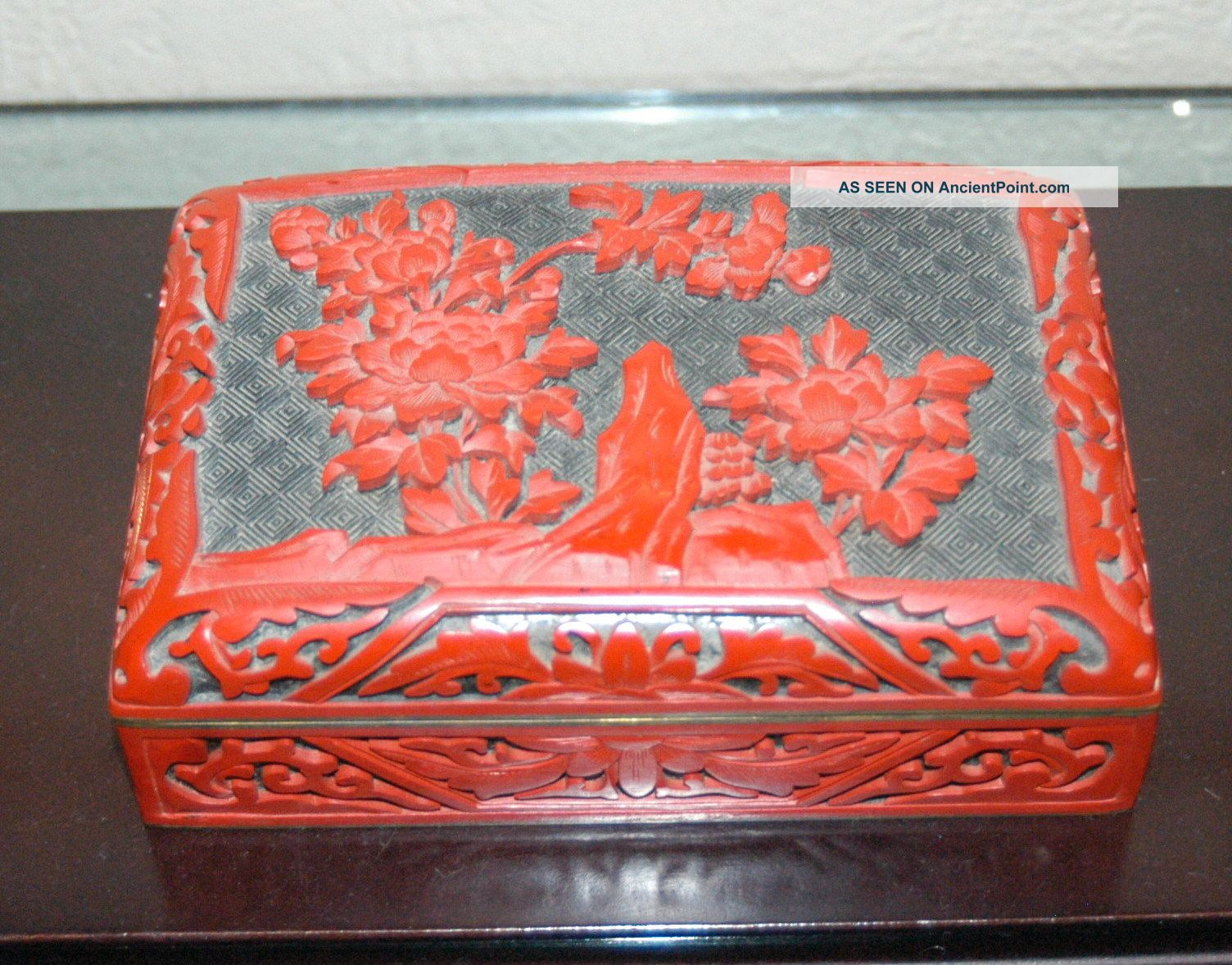 Fine Antique Early 20th Century Chinese Domed Lid Cinnabar Box Boxes photo