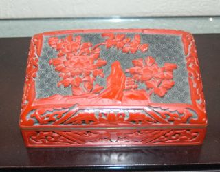 Fine Antique Early 20th Century Chinese Domed Lid Cinnabar Box photo