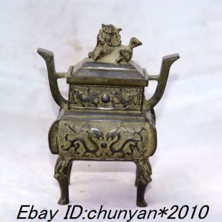 Chinese Asian Antique Bronze Censer (dragon.  Lions Totem) photo