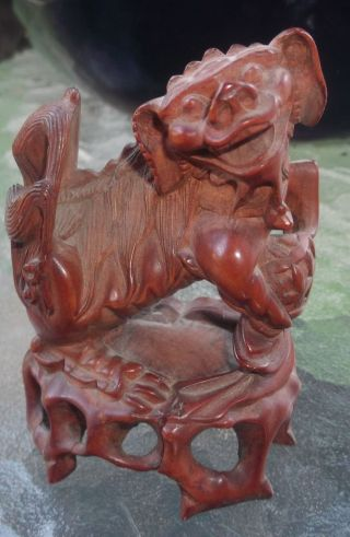 Vintage 8 Chinese Wood Carved Foo Dog Figure ~ Chinese Pekingese photo