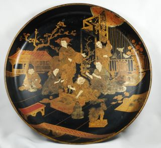 Antique Japanese/ Chinese Lacquer Figural Tray Late 19th Century 10 1/4