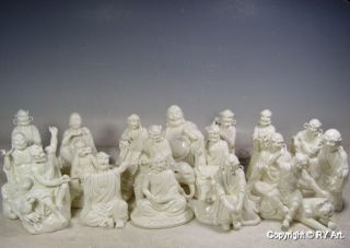 Set White Porcelain 18 Arhat Buddha Blanc De Chine photo