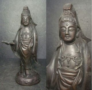 E973: Japanese Copper Ware Guanyin Kannon Statue Deity Of Mercy With Good Work photo