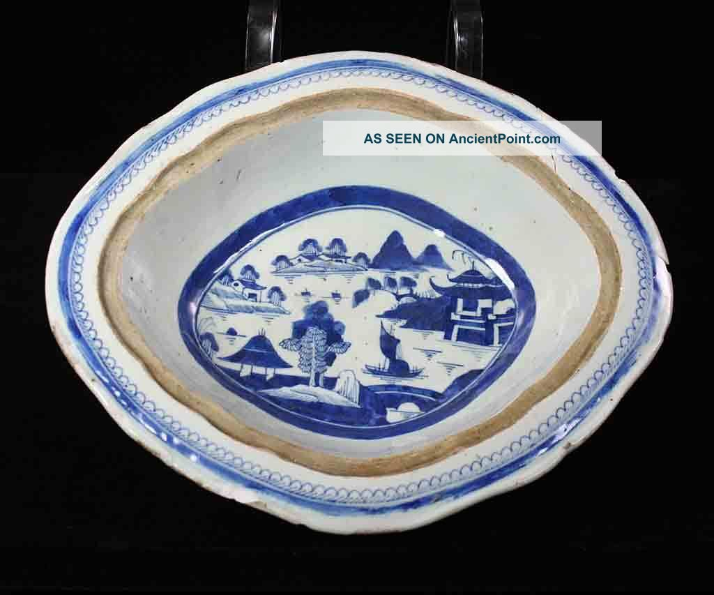 Antique Blue & White Canton China,  Export Porcelain - Damaged:oval Vegetable Dish Boxes photo