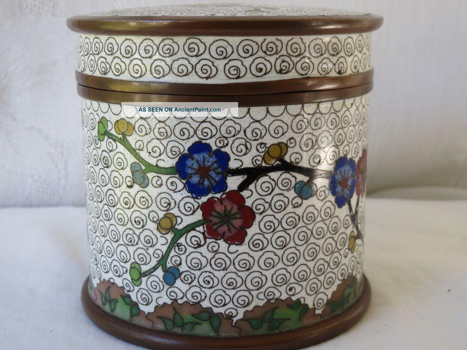 Antique Chinese Cloisonne Enamel Copper Design Flowers Box Boxes photo