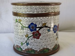 Antique Chinese Cloisonne Enamel Copper Design Flowers Box photo