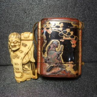 F393: Real Japanese Old Lacquer Ware Samurai Pillbox Inro With Makie,  Netsuke 1 photo