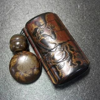 F394: Real Japanese Old Lacquer Ware Samurai Pillbox Inro With Makie,  Netsuke 2 photo
