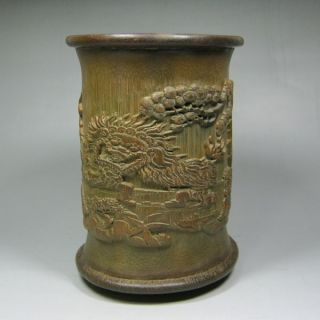 Old Chinese Hand Carved Pine Tree / Character Bamboo And Rosewood Big Brush Pot photo