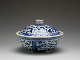 Fine Antique Ming Chenghua Mk Blue And White Phoenix Porcelain Bowl With Lid photo