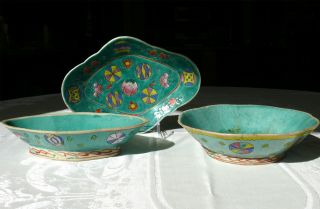 Group Of 3 Antique Chinese Stoneware Bowls ~ Colorfully Hand Enamel Painted photo