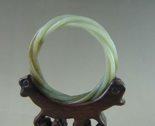 Old Chinese Hetian Jade Carved Bracelet Bangle photo