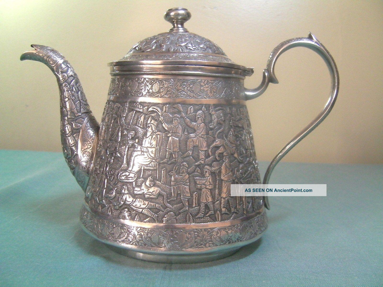 Antique Persian Islamic Qajar Signed Solid Silver Teapot Tea/Coffee Pots & Sets photo