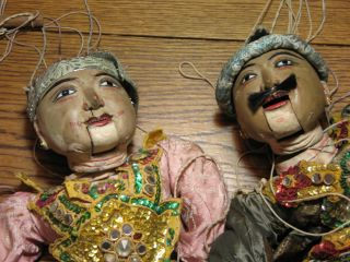 2 Antique Vintage Hand Painted Carved Wood Burmese Marionette Jointed Puppet 25