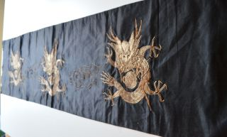 Fabulous Vintage Antique Chinese Silk And Metallic Dragon Textile – A60 photo
