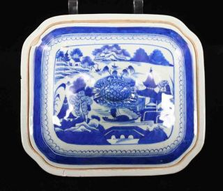Antique Blue & White Canton China,  Export Porcelain - Damaged: Squ.  Vegetable Dish photo