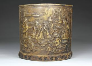 Chinese Old Alabaster Handwork Carving Brush Pot photo