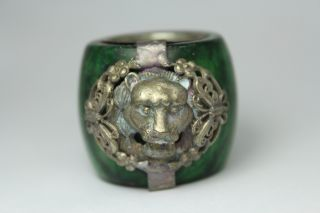 Chinese Handwork Jade Butterfly Lion Old Ring photo